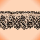 Abstract seamless lace pattern with flowers and butterflies. Stock Photo