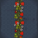 Abstract seamless lace pattern with flowers, leaves and strawberry. Royalty Free Stock Photos