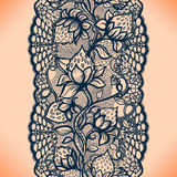 Abstract seamless lace pattern with flowers, leaves and strawberry. Royalty Free Stock Images