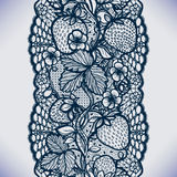 Abstract seamless lace pattern with flowers, leaves and strawberry. Stock Photos