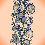 Abstract seamless lace pattern with flowers, leaves and strawberry. Royalty Free Stock Image