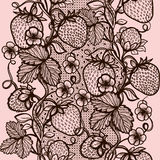 Abstract seamless lace pattern with flowers, leaves and strawberry. Stock Photo