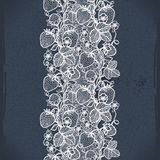Abstract seamless lace pattern with flowers, leaves and strawberry. Royalty Free Stock Photo