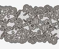 Abstract seamless lace ribbon with flowers. Monochrome element for invitations, greeting cards and frames. Royalty Free Stock Images
