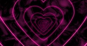 Abstract seamless loop pink neon sci-fi futuristic tunnel in heart form