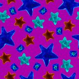 Abstract seamless magic pattern on black background with pink, blue, purple neon gradient stars, dots, heats. Romantic repeated. Backdrop. Miracle wallpaper for royalty free stock photo