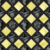 Abstract seamless marbled floor pattern of squares with grainy frame. Gold and black seamless background with typical veined structure Stock Photos
