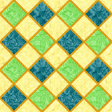 Abstract seamless marbled floor pattern of squares with orange grainy frame. Blue, green and yellow background with classic marbled structure Stock Images