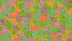 Mechanical seamless vector background pattern. Yellow, green, beige colors. Abstract seamless mechanical vector background pattern. Yellow, green, beige colors royalty free illustration