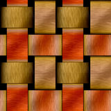 Abstract seamless metal pattern with brushed gold and red copper plates Stock Image