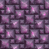 Abstract seamless mosaic 3d pattern of pink and purple beveled blocks Royalty Free Stock Photos
