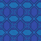 Abstract seamless ornament pattern. Blue floral ornament in knitting style vector illustration