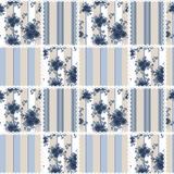 Abstract seamless patchwork checkered blue plaid textile retro. Floral design pattern background Royalty Free Stock Images