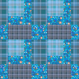 Abstract seamless patchwork checkered plaid textile design patte Stock Images