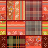 Abstract seamless patchwork checkered plaid textile design patte Stock Photography