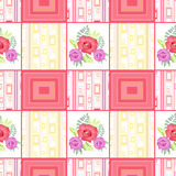 Abstract seamless patchwork checkered plaid textile retro floral Royalty Free Stock Image