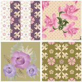 Abstract seamless patchwork checkered textile retro design roses Stock Photography