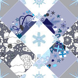 Abstract seamless pathcwork tile with christmasl ornament.winter Royalty Free Stock Images