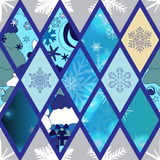 Abstract seamless pathcwork tile with christmasl ornament.winter Stock Photo
