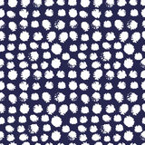 Abstract seamless pattern. Abstract vector hand painted textured elements  seamless pattern. Made in white and dark blue Royalty Free Stock Images