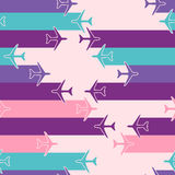Abstract seamless pattern with airplanes Stock Photo