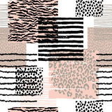Abstract seamless pattern with animal print. Trendy hand drawn textures. Vector modern design for paper, cover, fabric, interior decor and other users Stock Images