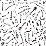 Abstract seamless pattern with arrows. Paper background with Hand drawing elements. Black and white Stock Images