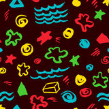 Abstract seamless pattern with artistic stars, dots, spirals, ge Stock Photo