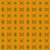 Abstract seamless pattern in autumn colors. Seamless pattern with different abstract geometric shapes and squares in autumn colors. This pattern can be used in Stock Images