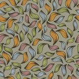 Abstract seamless pattern with autumn leaves. Vintage vector background Vector Illustration