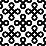 Abstract seamless pattern background. Black bowen knots, or loop square, design elements in diagonal arrangement Royalty Free Stock Images