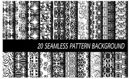 Abstract seamless pattern background. 20 black and white abstract artistic seamless pattern background Vector Illustration