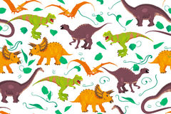 Abstract seamless pattern background made of different dinosaurs. Color  paleontology dinosaur texture good for wrapping paper, wallpaper and pattern fill Stock Photos