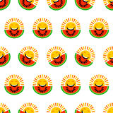 Abstract seamless pattern background made of sun faces and watermelons. Cute smiley summer emoticons. Royalty Free Stock Photography