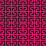 Abstract seamless pattern background. Maze of black geometric design elements isolated on pink background. Vector Royalty Free Stock Images