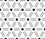 Abstract seamless pattern background. Regular diagonal grid of double solid lines with dots in the cross points. Vector Stock Image