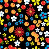 Abstract seamless pattern with berries, leaves and flowers Royalty Free Stock Photos