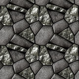 Abstract seamless pattern of black grained stones and black crystals Stock Image