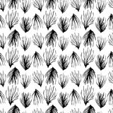 Abstract seamless pattern. Black grass ornament Stock Photo