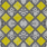 Abstract seamless pattern of black, gray and yellow squares and circles. Abstract background of geometric black, gray, white and yellow shapes Royalty Free Stock Image