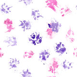 Abstract seamless pattern - black ink prints with messy dog paws. Creative monochrome backdrop with regular animal footprints. Animal seamless pattern with real Royalty Free Stock Photo