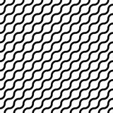 Abstract seamless pattern with black waves in diagonal arrangement on white background. Simple flat geometric vector Royalty Free Stock Photography