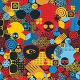 Abstract seamless pattern with black woman. Royalty Free Stock Photography