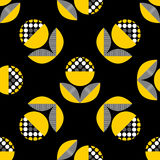 Abstract seamless pattern with black and yellow flowers. Stock Image