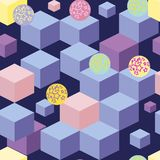 Abstract seamless pattern with blue cubes stock illustration