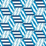 Abstract seamless pattern of blue cubes and lines. Royalty Free Stock Image