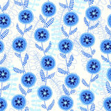 Abstract  seamless  pattern with blue flowers. Endless abstract background with blue flowers Royalty Free Stock Image