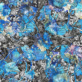 Abstract seamless pattern with blue flowers Stock Photos