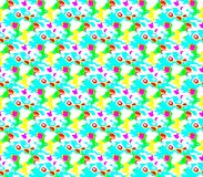 Abstract seamless pattern of blue and green, yellow and white, pink and red lines and spots around the figure Stock Photography