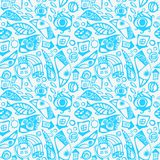 Abstract seamless pattern in blue Stock Photo